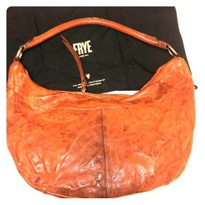 FRYE Veronica Cognac Leather Hobo Shoulder Bag